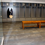 Inside the women's locker room of The Kraft Group Employee Fitness Center