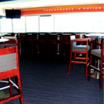 Close-up detail of flooring in an Executive Suite at Gillette Stadium